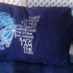 Blue Pillow Case with Butterfly Shaped Motif